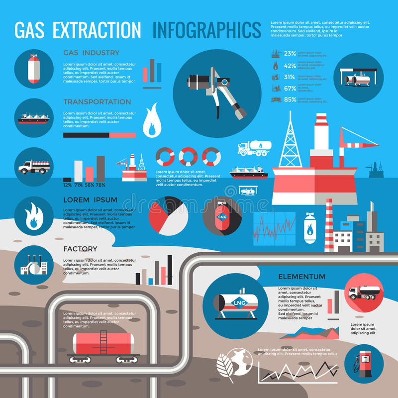 Gas-Extraktion Infographics Vektor Abbildung - Illustration von ...