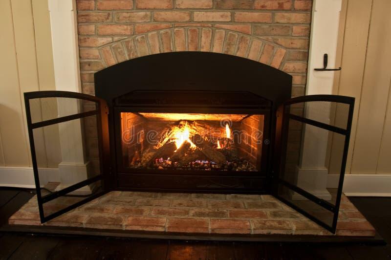 Gas Fireplace stock photo