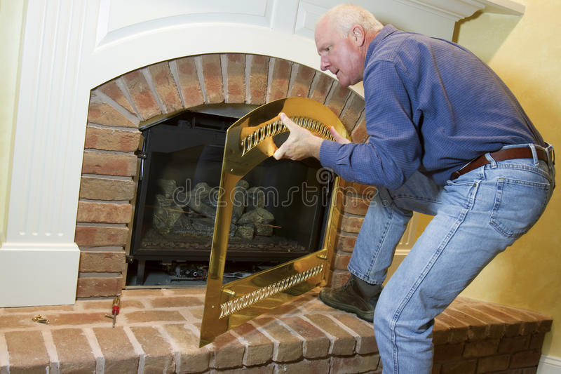 Gas Fireplace Repair stock image Image of yourself