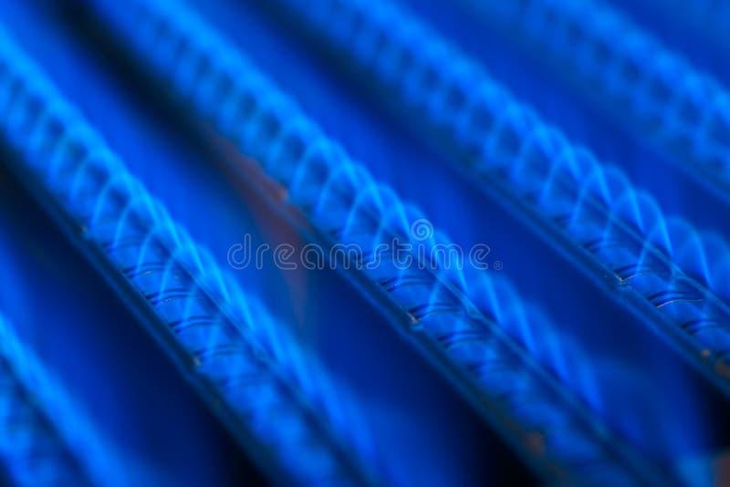 Gas flame. Blue flames of a gas burner inside of a boiler