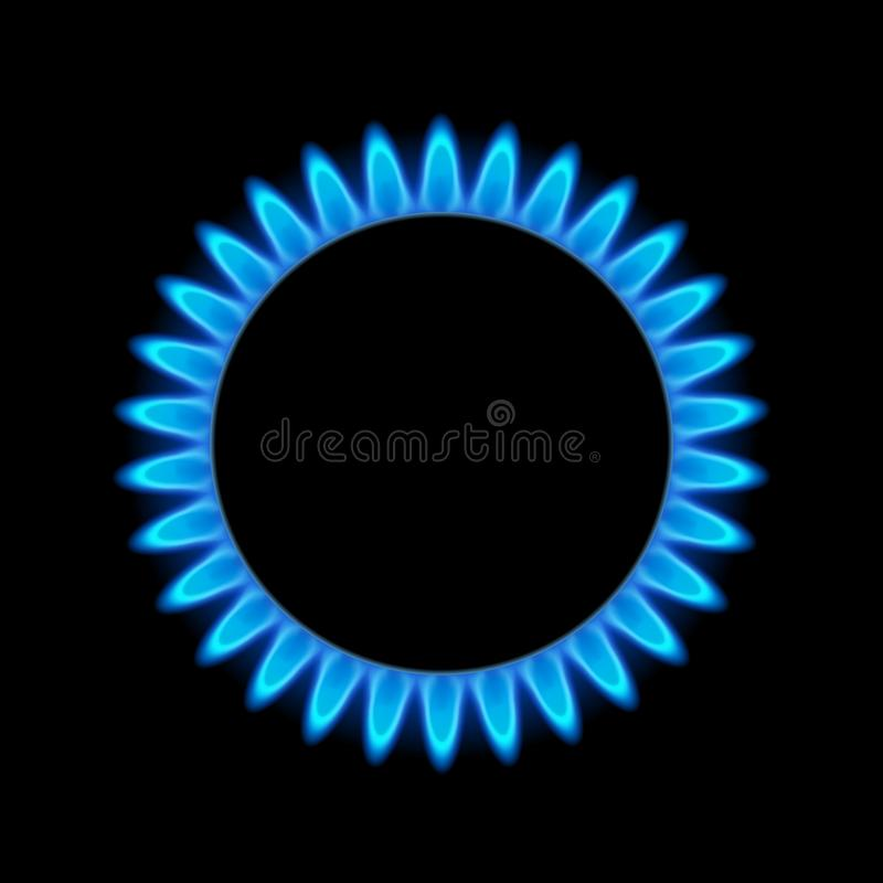 Gas flame blue energy. Gas stove burner for cooking. Fire heat butane or propane natural power.  vector illustration