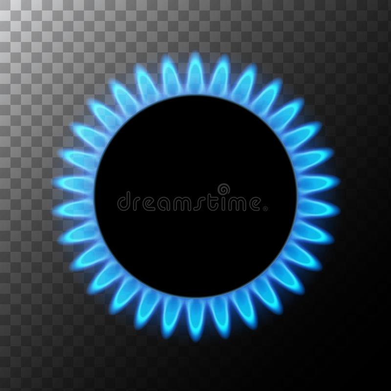 Gas flame blue energy. Gas stove burner for cooking. Fire heat butane or propane natural power isolated.  royalty free illustration