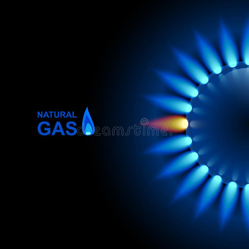 Free Gas Flame With Blue Reflection On Dark Backdrop. Vector Background. EPS 10 Stock Photography - 138569962