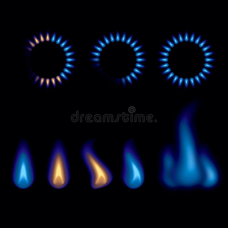 Gas flames burning