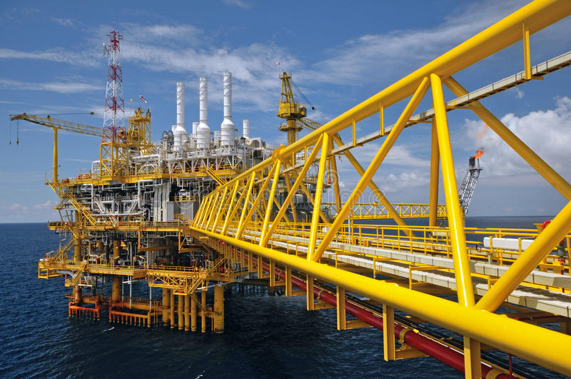 Download The Gas Flare Is On The Oil Rig Platform Stock Image - Image of burn, exhaust: 31356497