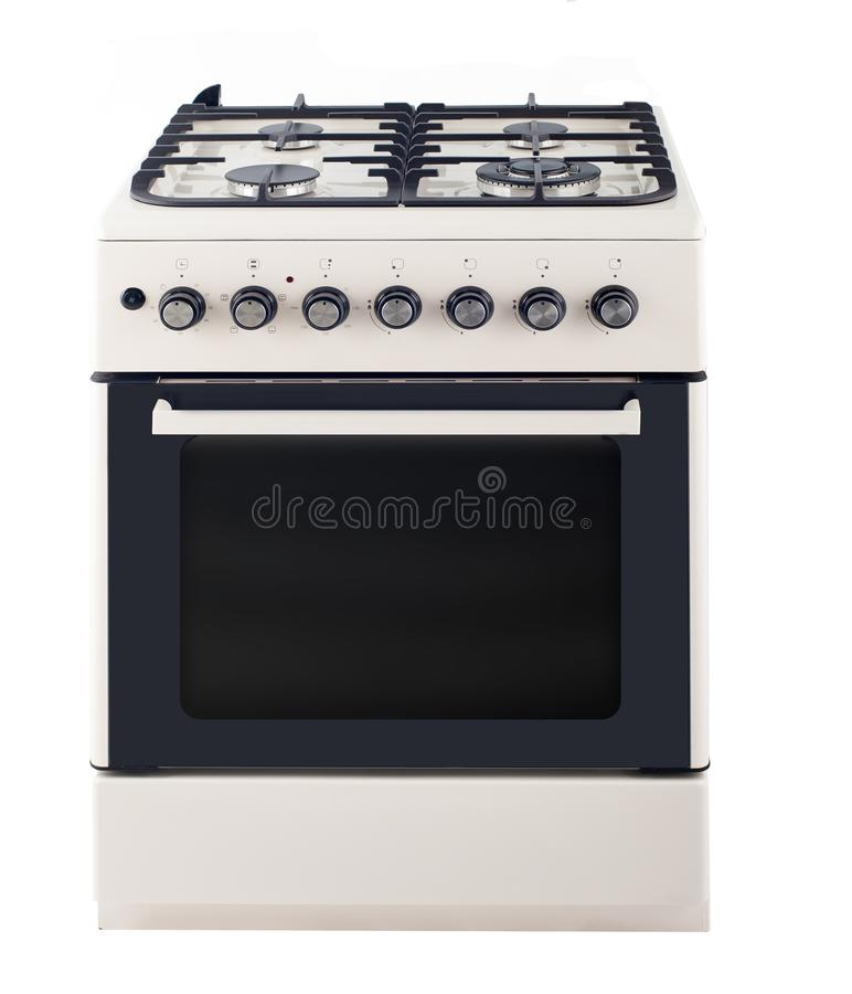 Gas cooker isolated on white stock images