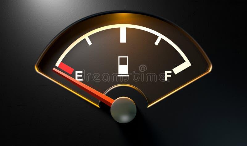 Gas Gage Illuminated Empty stock de ilustración