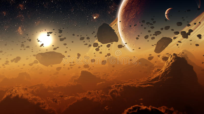Gas Giant Planet Surface With Asteroid Belt royalty free illustration