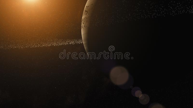 Gas giant with ring system of ice particles. Outer Space, Cosmic Art and Science Fiction Concept. royalty free illustration