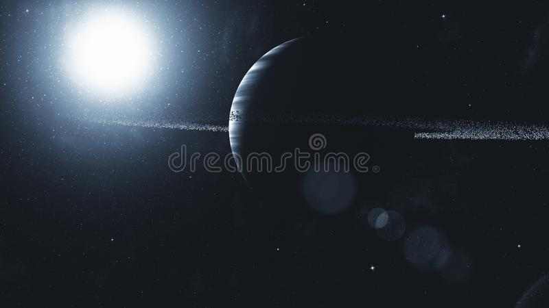 Gas giant with ring system of ice particles. Outer Space, Cosmic stock illustration