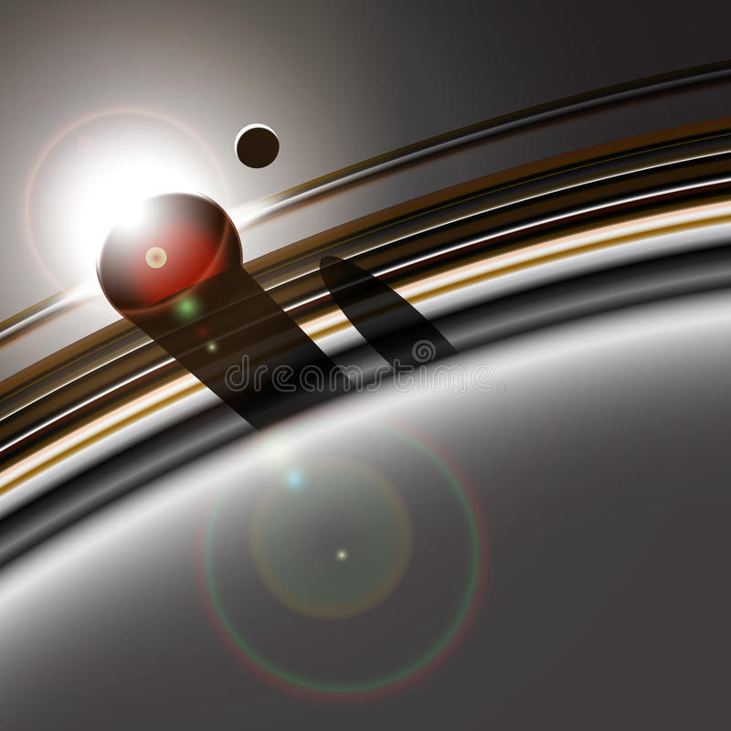 Gas giant ring system and the moon vector illustration