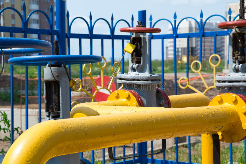Gas hub, the distribution for residential houses, pipe with a valve, the heating of in the city stock photo