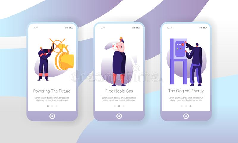 Gas Industry Mobile App Page Onboard Screen Set, Engineer Control Pipe and Manometer, Woman Maintenance Factory Technician. Engineering Concept for Website or royalty free illustration