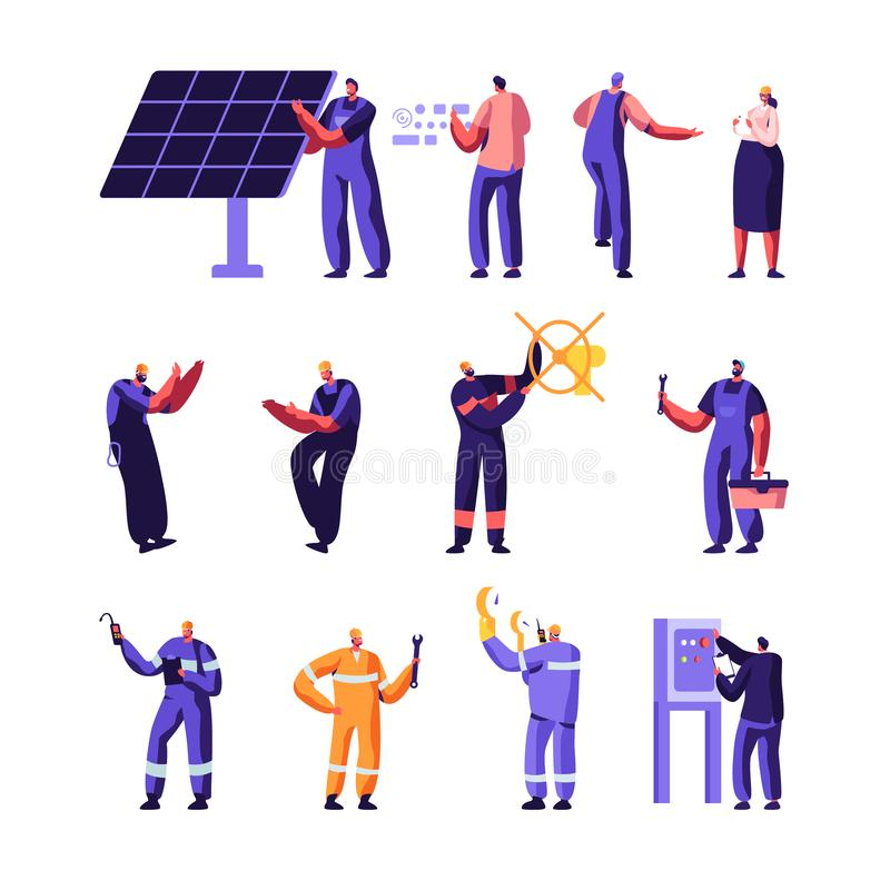 Gas Industry and Smart Home Maintenance Service Workers Set, Engineer Control Pipe, Solar Panel, Manometer, Factory royalty free illustration