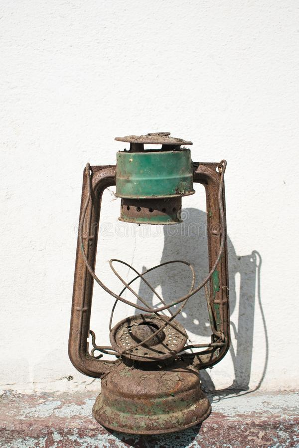 Gas lamp rust, very old and used royalty free stock photography