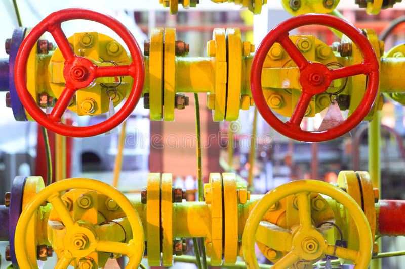 Gas latch. Industrial pipeline stock image