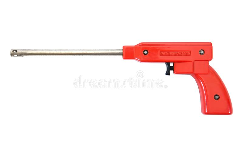 Gas lighter gun for gas stove and gas kitchen on white background. Gas lighter isolated. Gas lighter gun for gas stove and gas kitchen on white background. Long royalty free stock photos