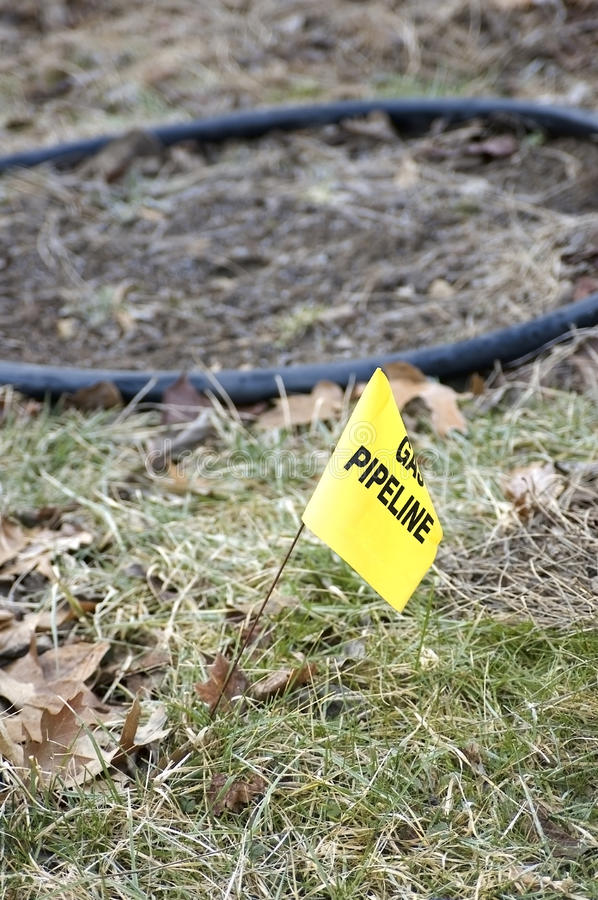 Gas line flag. Small yellow flag in the ground marking the location of a gas line royalty free stock image