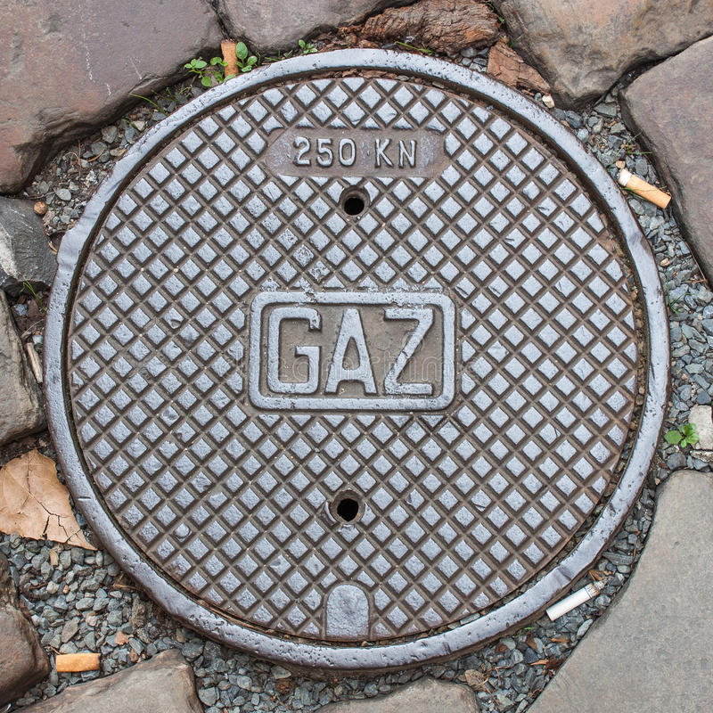 A gas manhole cover royalty free stock image