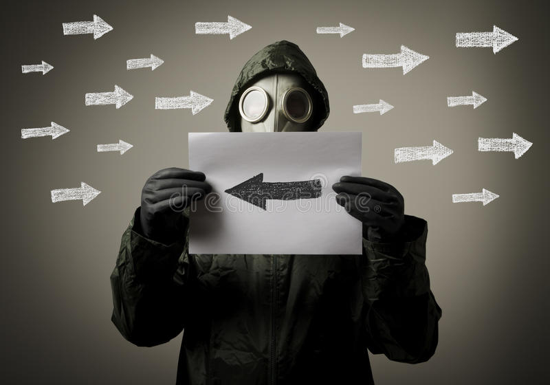 Gas Mask And Arrows Royalty Free Stock Images