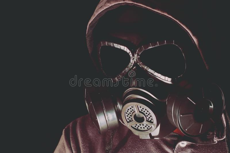 Gas mask on a black background. royalty free stock images