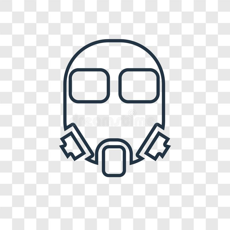 Gas mask concept vector linear icon isolated on transparent back vector illustration
