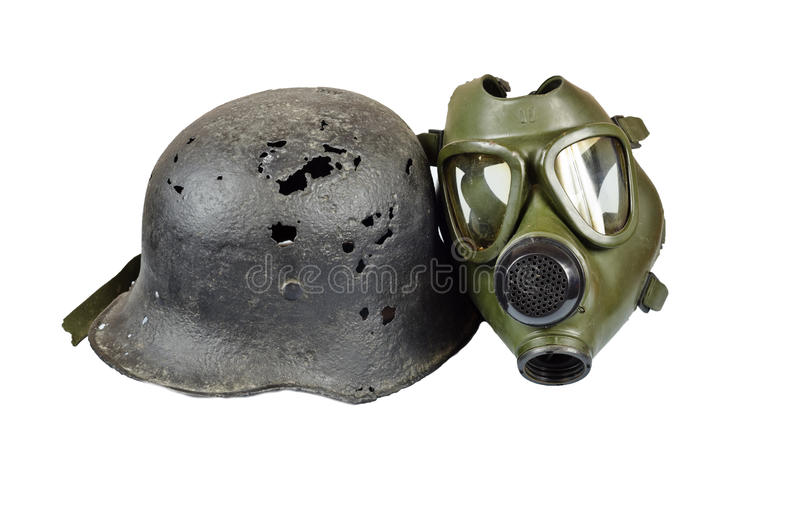 Gas mask and helmet royalty free stock photo