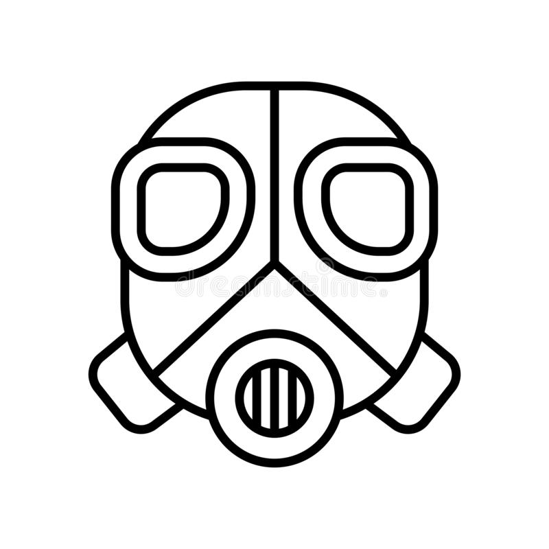Gas mask icon vector isolated on white background, Gas mask sign , thin line design elements in outline style vector illustration