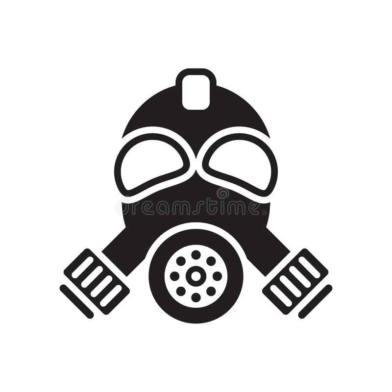 Gas mask icon vector sign and symbol isolated on white background, Gas mask logo concept stock illustration