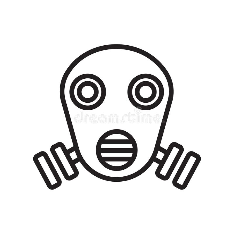 Gas mask icon vector sign and symbol isolated on white background, Gas mask logo concept, outline symbol, linear sign vector illustration