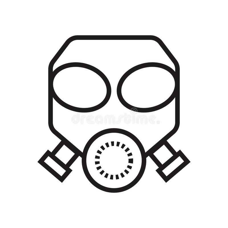 Gas mask icon vector sign and symbol isolated on white background, Gas mask logo concept vector illustration