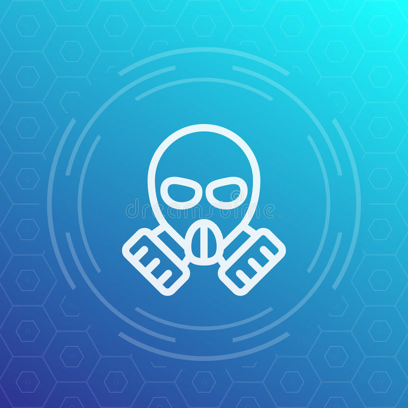 Gas mask linear icon vector illustration