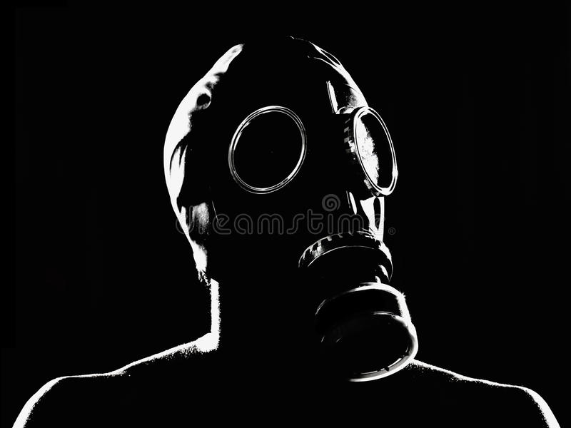 Gas Mask. A man with a gas mask stock image