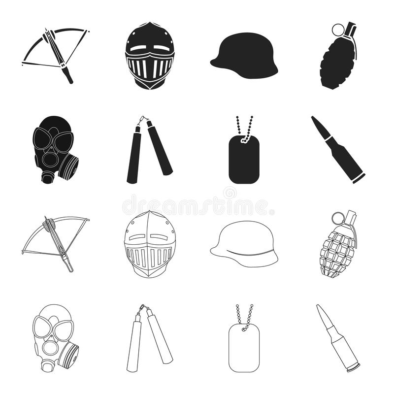 Gas mask, nunchak, ammunition, soldier token. Weapons set collection icons in black,outline style vector symbol stock royalty free illustration