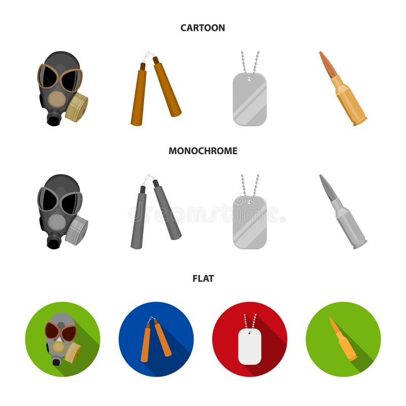 Gas mask, nunchak, ammunition, soldier token. Weapons set collection icons in cartoon,flat,monochrome style vector royalty free illustration