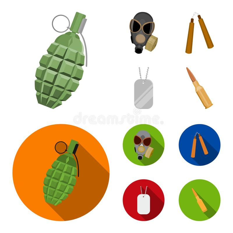 Gas mask, nunchak, ammunition, soldier token. Weapons set collection icons in cartoon,flat style vector symbol stock stock illustration