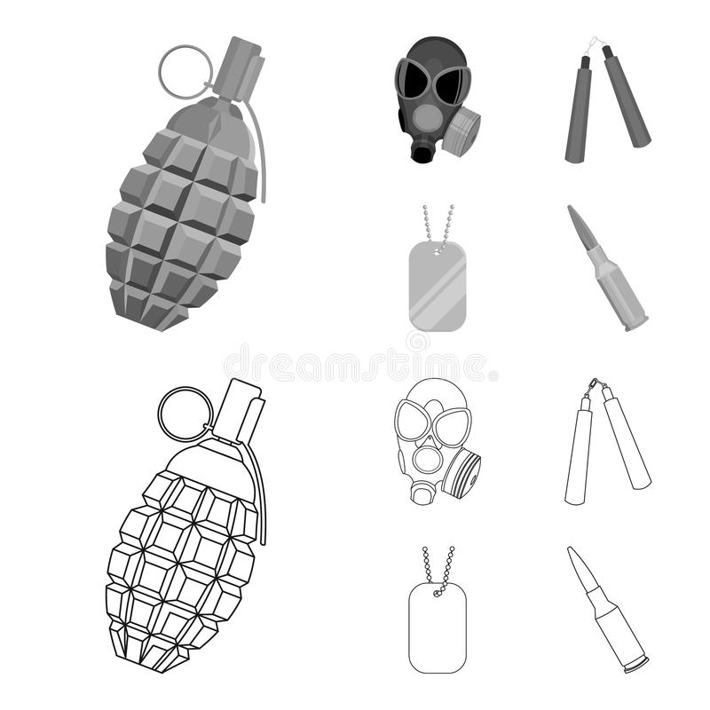 Gas mask, nunchak, ammunition, soldier token. Weapons set collection icons in outline,monochrome style vector symbol vector illustration