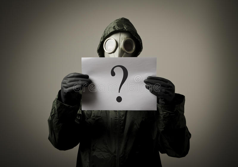 Download Gas mask and question stock photo. Image of portrait - 31739848