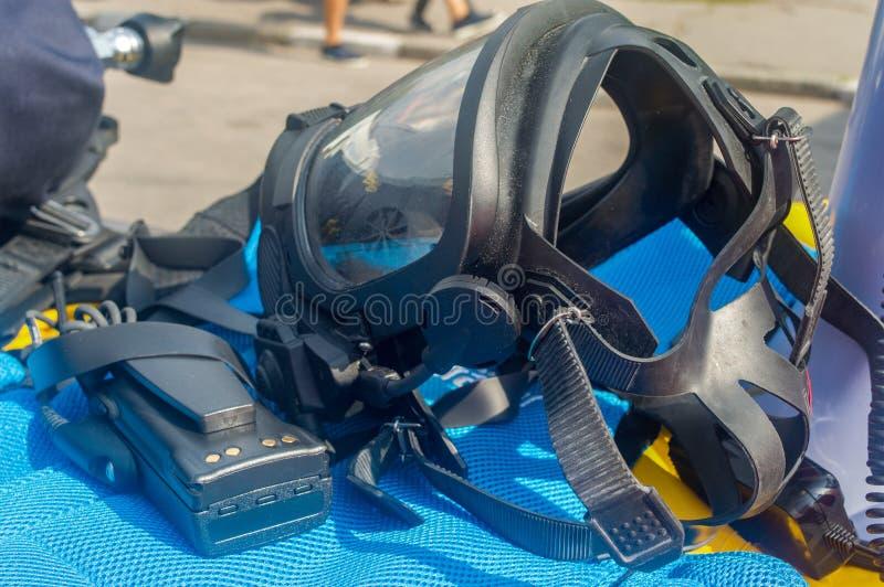 Gas mask un insieme della protezione individuale significa fotografie stock libere da diritti
