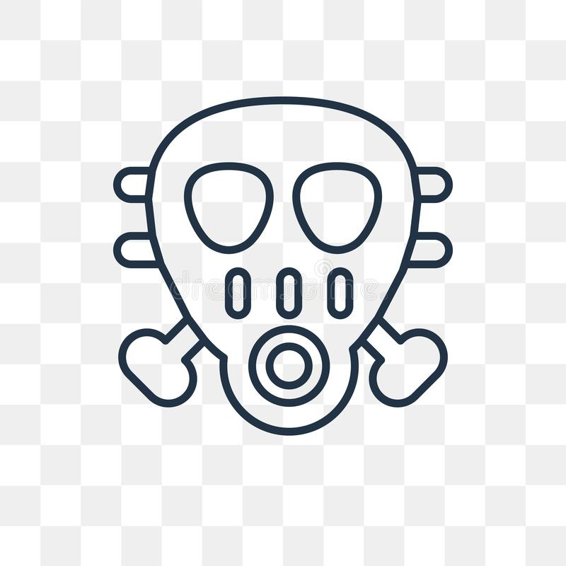 Gas mask vector icon isolated on transparent background, linear vector illustration