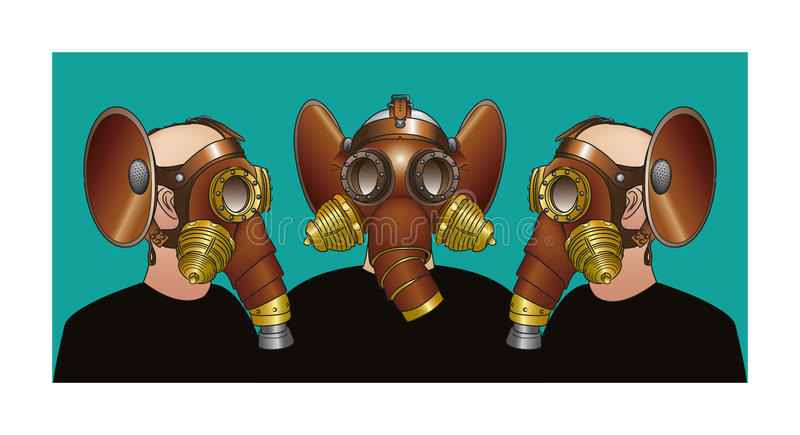 Gas masks - Steampunk brotherhood. Steampunk gas masks - Steampunk brotherhood royalty free illustration