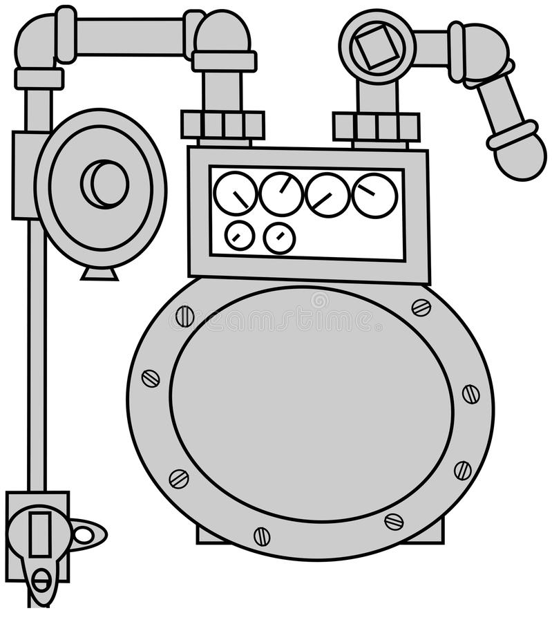 Download Gas Meter Set stock illustration. Image of piping, valve - 16396739