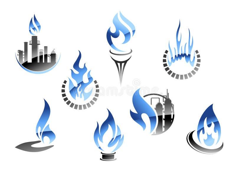 Gas- och oljeindustrisymboler vektor illustrationer