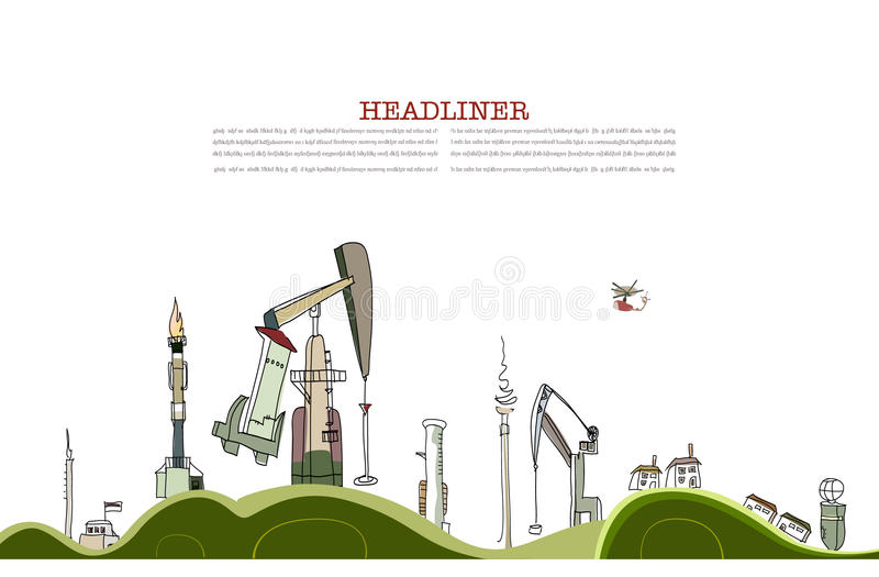 Gas and oil discovery, environmental concept vector illustration