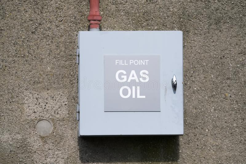 Gas and oil fill point cabinet and pipe connection. Uk stock photos