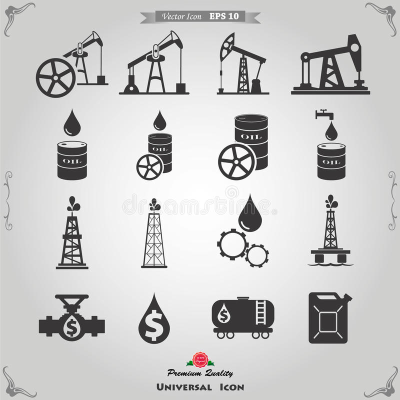 Gas and Oil icons set. Oil and gas industry iillustration. Vector illustration stock illustration