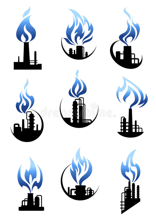 Gas and oil industry factories icons set. Gas and oil industry icons showing chemical industrial plants and factories with pipelines, tank storages, chimneys and royalty free illustration