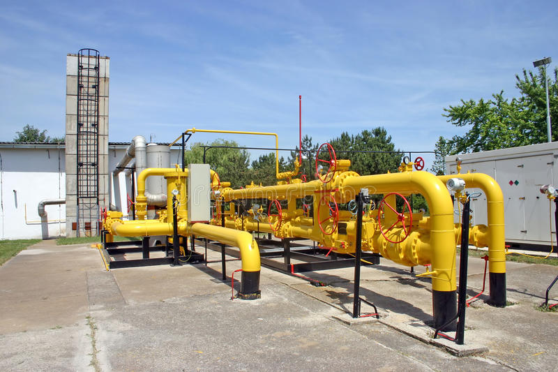 Gas and oil pipes. Transportation and measuring of gas and oil through pipes stock photography