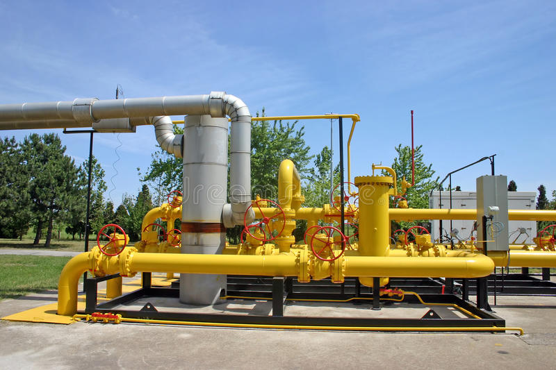 Gas and oil pipes. Transportation and measuring of gas and oil through pipes royalty free stock photography