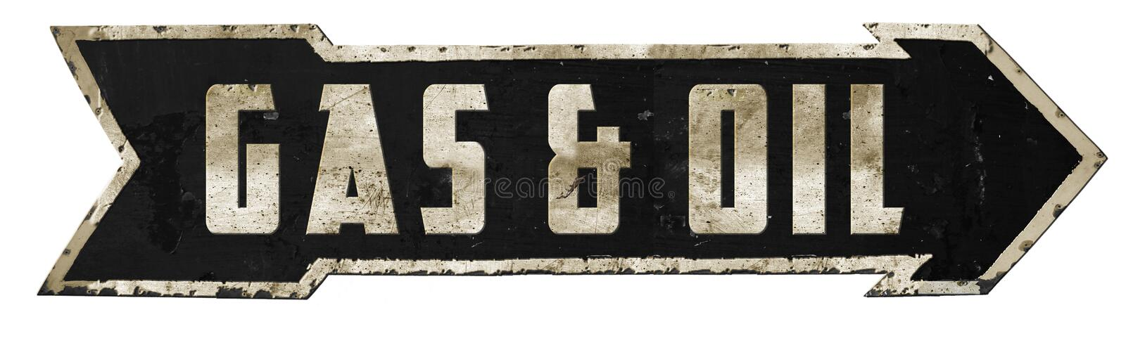 Gas and Oil Vintage Road Sign Arrow Service Mechanic Garage stock illustration